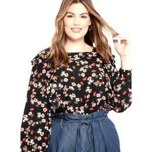 ELOQUII Elements Floral Ruffle Blouse